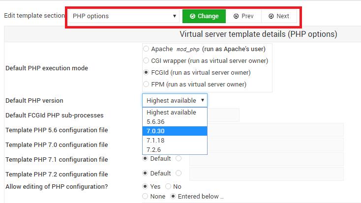 virtualmin-change-php-version