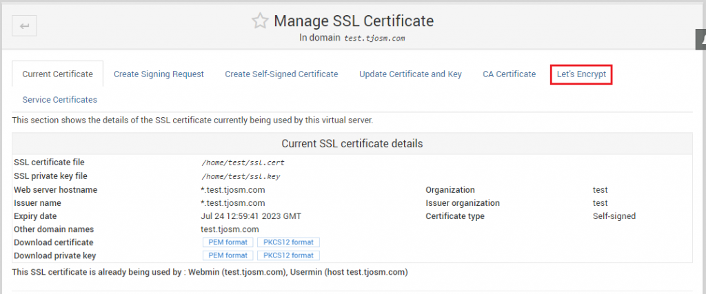 Virtualmin Manage SSL Certificates